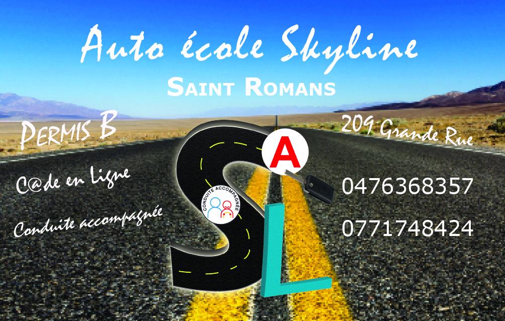 carte de visite de l'auto-école skyline créée par infoweb38