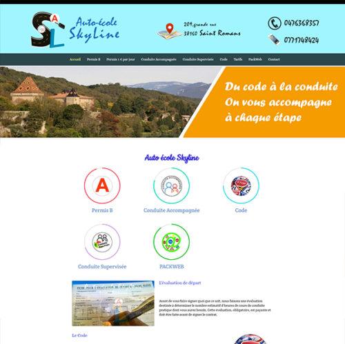 Site web de l'auto école Skyline créé par infoweb38